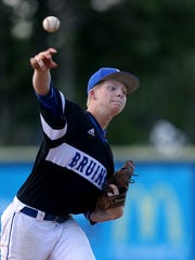Brentwood's Connor Gibson (5) pitches against Stewarts Creek during the Class AAA Baseball State Championship game at Spring Fling on Friday, May 26, 2017.