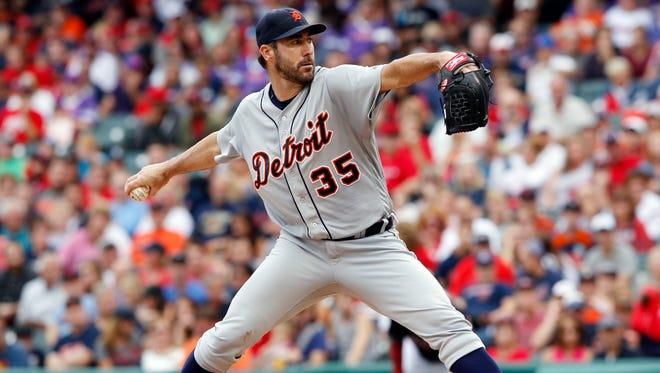 Tigers pitcher Justin Verlander pitches Saturday in Cleveland.