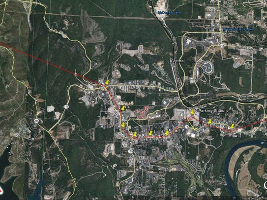 The proposed 8.5 mile route for a gondola line in Branson,