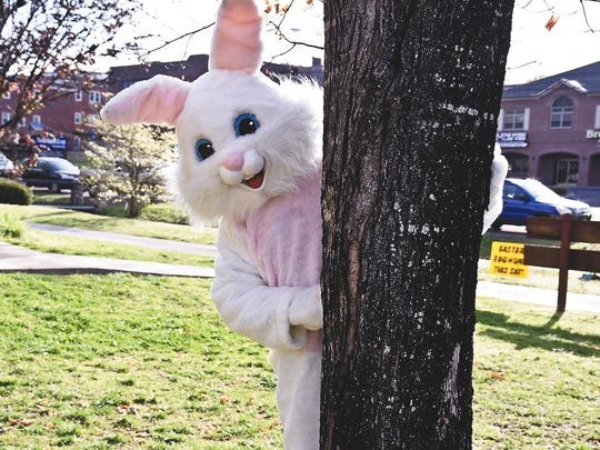 The Easter Bunny at an egg hunt at Fountain City Park in 2017.