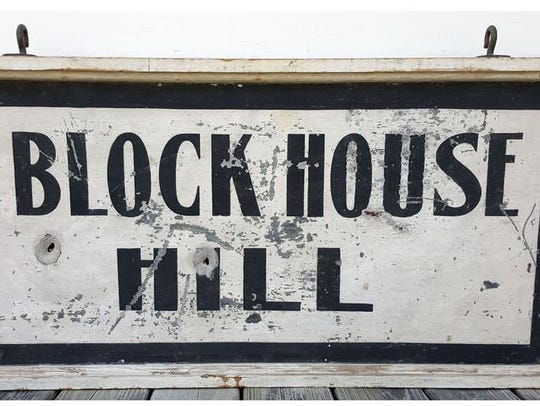 Large Block House Hill double-sided hanging sign, tin