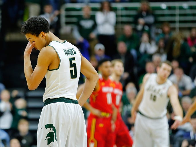 Michigan State's  Bryn Forbes reacts after losing to