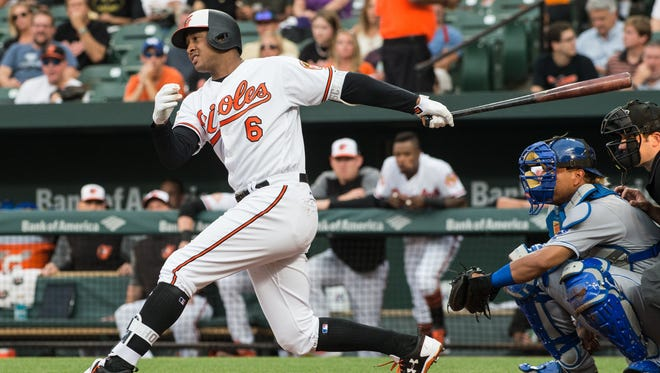 Orioles' Jonathan Schoop (6) at bat during a game against the Royals on Wednesday, Aug. 2, 2017.