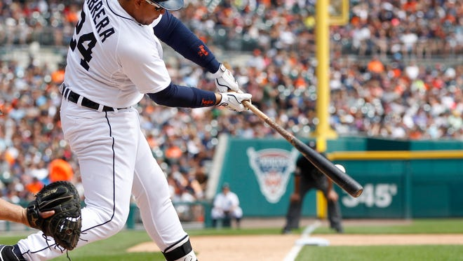 Tigers DH Miguel Cabrera hits a single to lead off the fifth inning during their 4-2 loss to the Rangers on Sunday at Comerica Park.