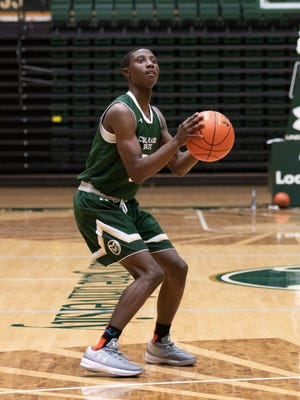 Kendle Moore, an all-state point guard from Illinois who signed with CSU's basketball program Monday, checks out Moby Arena during a recruiting visit.