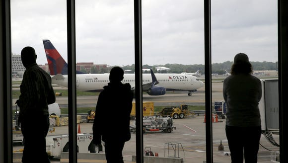 In this file photo from April 14, 2015, Delta Air Lines