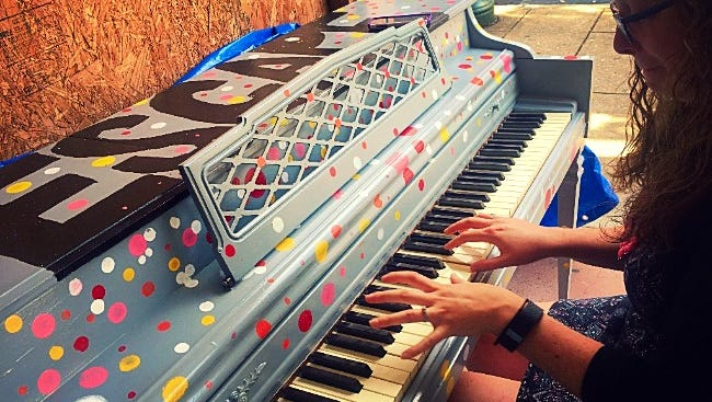 A donated paino has been painted and decorated for Chambersburg's newest venture, a Downtown Chambersburg Piano Project. The public is invited to stop by and create music on the Main Street Piano located outside The Garage Studios now through Friday, Nov.4.