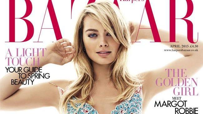 Margot Robbie on the cover of Harper's Bazaar.