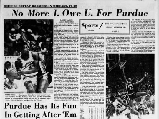 Purdue dominated rival IU in the 1980 NCAA tournament.