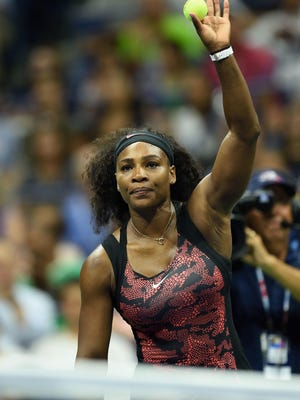 DON EMMERT, AFP/Getty Images Serena Williams of the US waves to the crowd after Vitalia Diatchenko of Russia withdrew Russia during their Womens Singles Round 1 match at the 2015 US Open at USTA Billie Jean King National Tennis Center in New York on August 31, 2015. AFP PHOTO/DON EMMERTDON EMMERT/AFP/Getty Images ORG XMIT: 554354469 ORIG FILE ID: 543791054