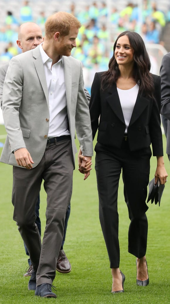 Harry and Meghan on a more casual outing to Croke Park, home of Ireland's largest sporting organization, the Gaelic Athletic Association.