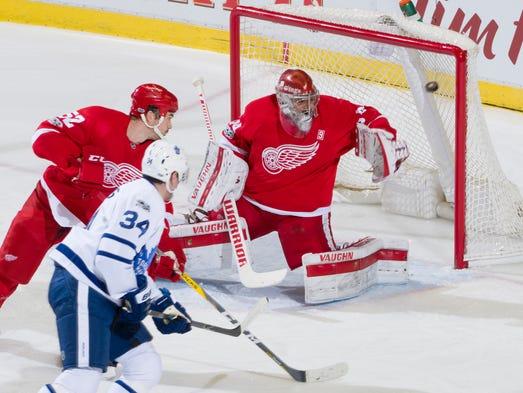 Toronto Maple Leafs center Auston Matthews sends the