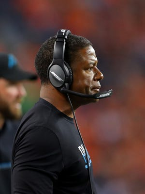 Sep 8, 2016: Carolina Panthers assistant head coach Steve Wilks against the Denver Broncos at Sports Authority Field at Mile High. The Broncos defeated the Panthers 21-20.