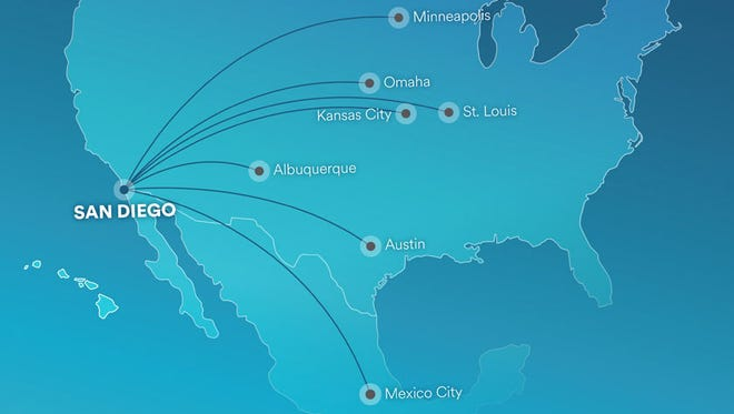 This map provided by Alaska Airlines shows new routes it announced from San Diego on March 15, 2017.