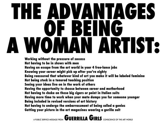 "The Guerrilla Girls made this poster, ""The Advantages of Being a Woman Artist,"" in 1988. Two representatives from the group will speak at Milwaukee Institute of Art and Design Feb. 22."