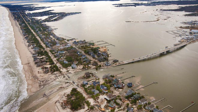 Aerial of the Mantoloking Bridge after Superstorm Sandy in 2012.