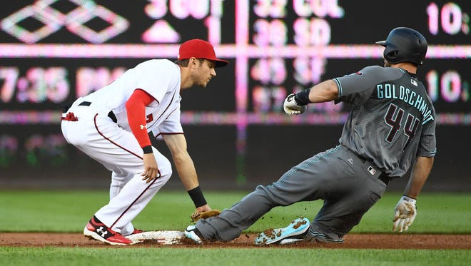 Arizona Diamondbacks first baseman Paul Goldschmidt (44) is tagged out attempting to steal second base by Washington Nationals shortstop Trea Turner (7) during the first inning  at Nationals Park, May 2, 2017.
