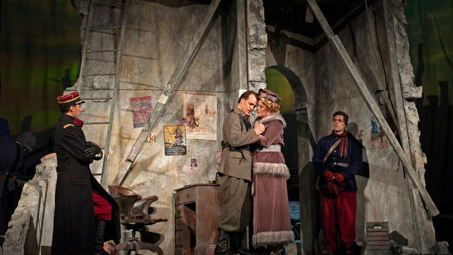 """German soldier Nikolaus Sprink (Thomas Blondelle) is reunited with his lover, Anna Sorensen (Erin Wall) in """"Silent Night."""""""