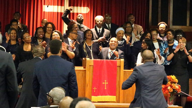 The El Paso Mass Choir sings during a 2017 Dr. Martin Luther King Jr. Celebration Sunday at Community Baptist Church, 7801 Phoenix Ave. The celebration, a joint event involving a variety of local African-American congregations included prayer, music, a special mime performance by Young Adults in Motion and remarks by a variety of speakers, including Bishop Lester Williams of Community Church of Christ, Jamaica, New York.