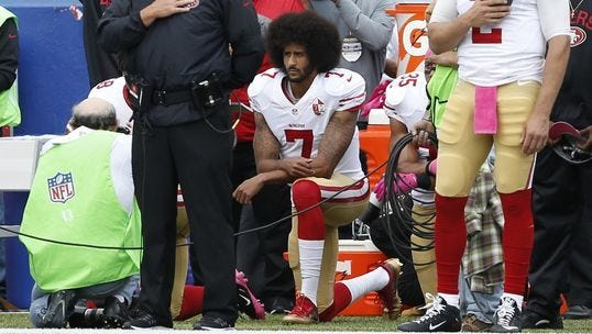 "Eagles owner Jeffrey Lurie said he had ""no idea"" if he'd sign former 49ers quarterback Colin Kaepernick, shown kneeling during the national anthem last season."