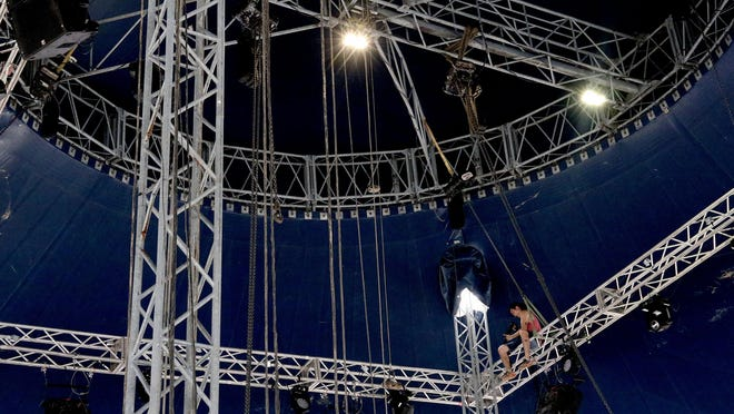 Sound technician Luciano Dresdner helps set up the big top, Tuesday, June 30, 2020, for the Cirque Italia Water Circus opening scheduled for July 2, 2020, in the Central Mall parking lot. According to the Cirque Italia website, the Water Circus Silver show features a custom designed, 35,000 gallon water stage that performers dazzle over while thrilling the audience with curtains of rain and fountain jets crisscrossing in time to each move. Showtimes are July 2-3 at 7:30 p.m.; July 4 at 1:30 p.m., 4:30 p.m., and 7:30 p.m.; and July 5 at 1:30 p.m., 4:30 p.m. and 7:30 p.m. Tickets start at $10, and one free child admission is included with the purchase of an adult ticket. For more information, visit www.cirqueitalia.com.