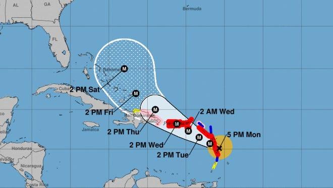 Hurricane Maria's forecast cone as of the 5 p.m. Monday, Sept. 18, 2017 advisory.
