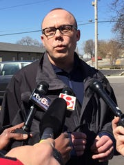 City-County Council Vice President John Barth speaks on Saturday, March 28, 2015, in the parking lot of Angie's List immediately following an announcement byCEO Bill Oesterle that the company is pulling out of a development deal with Indianapolis due to Indiana's passage of RFRA this week. Barth said the City-County Council will take up a resolution at Monday night's meeting that he drafted opposing RFRA as not representative of Indianapolis being a welcoming place.