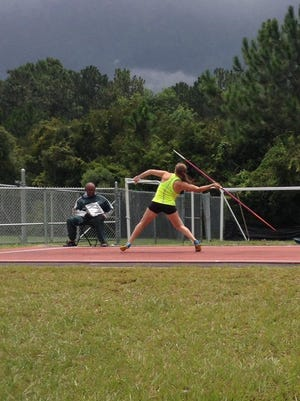 De Pere's Sydney Otto competes in the javelin throw at the Junior Olympic National Championships earlier this month in Jacksonville, Fla.