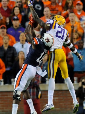 Auburn wide receiver Sammie Coates hauls in a touchdown reception against LSU defensive back Rashard Robinson at Jordan-Hare Stadium in Auburn, Ala. on Saturday October 4, 2014.