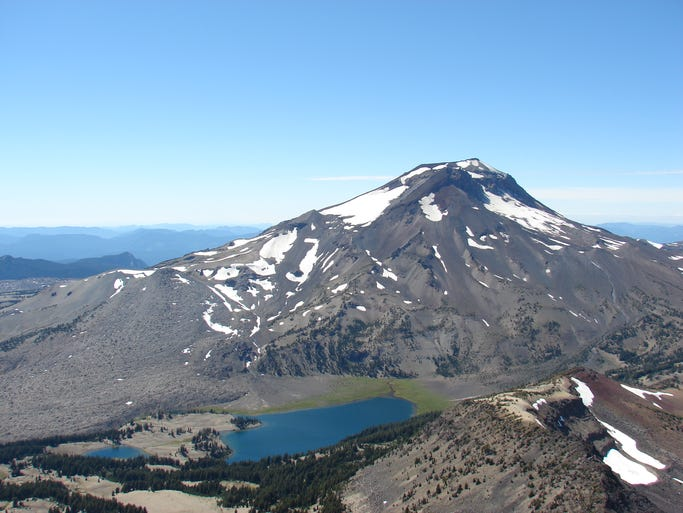 The Green Lakes Basin below South Sister taken from high atop Broken Top in the Three Sisters Wilderness.