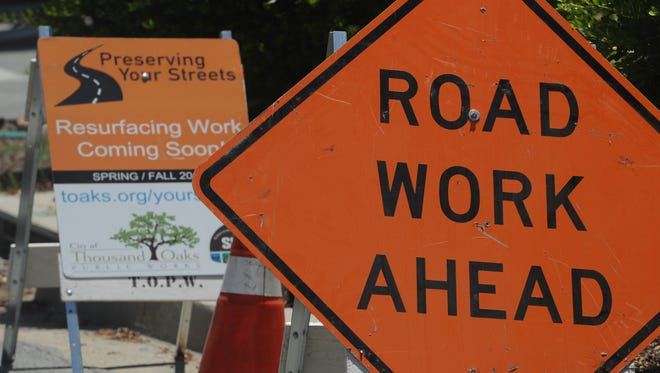 Signs are posted near Wildwood Avenue and Big Sky Drive as the city of Thousand Oaks embarks on a street resurfacing project that is expected to run through November.