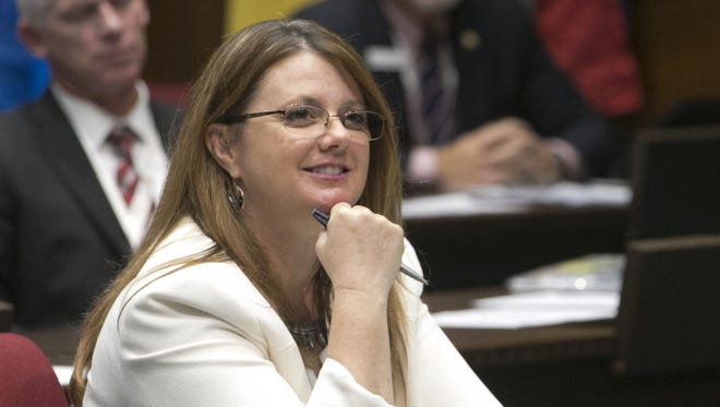 Rep. Kelly Townsend listens in the House chambers at the Arizona State Capitol in Phoenix during a constitutional convention for state delegates on Sept. 12, 2017.