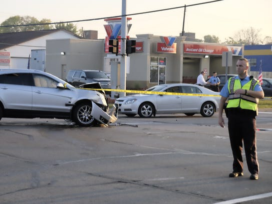 Five people were injured in a three-vehicle crash at
