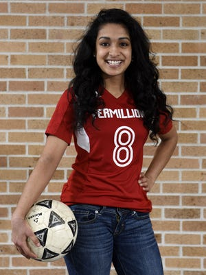 Vermillion's Sowmya Ragothaman plays soccer. She plans to major in mechanical engineering.