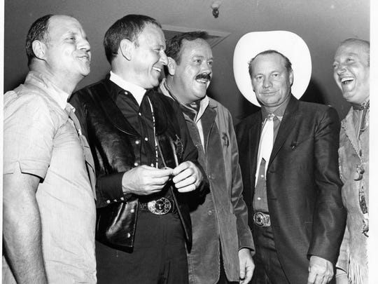 Don Rickles, Frank Sinatra, Police Chief Bob White, Warren Coble, and Jilly Rizzo at Desert Circus event, 1970. (Photo credit: George Aquino)