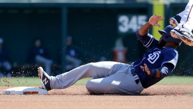 The Padres' Manuel Margot stole 30 bases at Class AAA last year before seeing his first major league action in September.