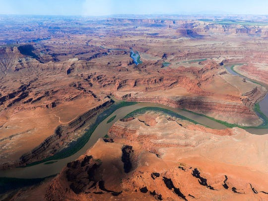 This May 23, 2016, file photo, shows the northernmost boundary of the proposed Bears Ears region, along the Colorado River, in southeastern Utah.