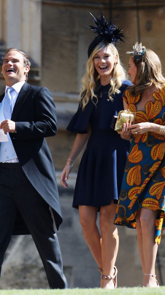 Chelsy Davy (center) arrives at the wedding of Prince Harry to Ms Meghan Markle at St. George's Chapel, Windsor Castle on May 19, 2018 in Windsor, England.