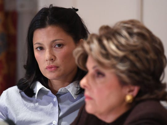 Natassia Malthe (L) with her lawyer, Gloria Allred, at press conference Oct. 25, 2017, in New York to discuss her allegations of sexual assault against Harvey Weinstein.