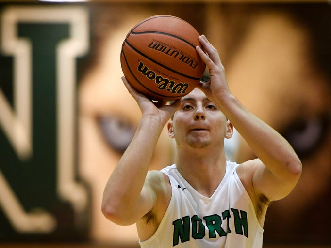 North's Ryan Huebner (5) shoots a free throw in the