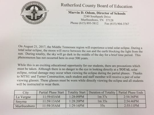 Rutherford County Schools provided this letter for parents who wished for their child to opt out of viewing Monday's total solar eclipse.