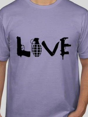 Thomas Deininger, who designed this LOVE shirt about 11 years ago, said they were never meant to promote guns, the Second Amendment or violence. He now sells them only in pastel colors, and has tried to get other sellers from infringing on his copyright.