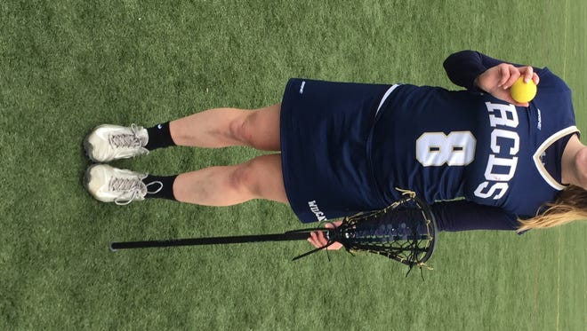 Rye Country Day's Taylor Regan after scoring 13 times vs. Hackley and setting an RCDS record for career goals
