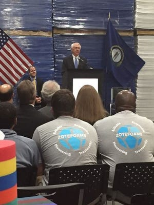 Gov. Steve Beshear, company officials and Northern Kentucky leaders met Wednesday morning to break ground on ground on Zotefoams Inc.'s expansion in Walton.