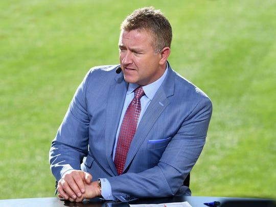 Jan 1, 2020; Pasadena, California, USA; ESPN broadcaster Kirk Herbstreit during the 106th Rose Bowl between the Oregon Ducks and the Wisconsin Badgers at Rose Bowl Stadium. Mandatory Credit: Kirby Lee-USA TODAY Sports