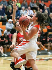 Somerville's Christina Cerruto shoots against Bound Brook at Somerville on February 6, 2018. (Photo by Keith Muccilli, Correspondent)