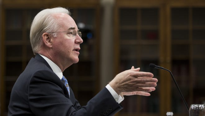 Health and Human Services Secretary Tom Price testifies during a hearing on Capitol Hill on March 29, 2017.