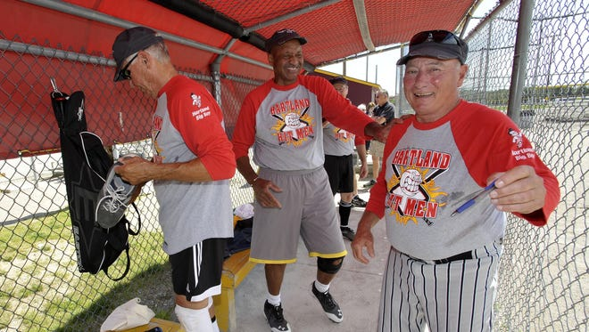 John Govert, left, Joe Thomas, center, and Rich Huey are ready to give it their all for the Hartland Hit Men in the National Senior Games in Eagan, Minnesota, next week.