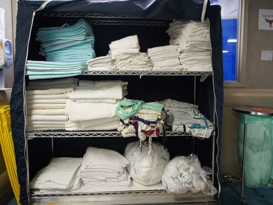 Extra linens are on hand in the emergency room at St.