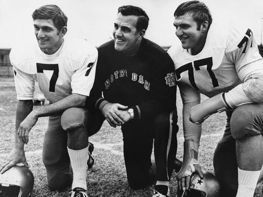 AP file Notre Dame coach Ara Parseghian, center, poses with quarterback Joe Theismann, left, and defense tackle Mike McCoy in 1969. Parseghian, who led Notre Dame to two national championships in 11 seasons, died Wednesday at his home in Granger, Ind. He was 94. FILE - In this Dec. 29, 1969, file photo, Notre Dame head football coach Ara Parseghian, center, poses with Quarterback Joe Theismann (7), left, and All-America defense tackle Mike McCoy, in Dallas, Texas, where the team was preparing for the Cotton Bowl. Parseghian, who took over a foundering Notre Dame football program and restored it to glory with two national championships in 11 seasons, died Wednesday, Aug. 2, 2017, at his home in Granger, Ind. He was 94.  (AP Photo/File)